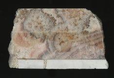 Hoog - kwaliteitsmarmer Geïsoleerde op zwarte achtergrond natuursteenbesnoeiing opgepoetst marmeren patroon Royalty-vrije Stock Afbeelding