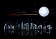 Hoog - stad van de technologie de futuristische regenboog Stock Foto's