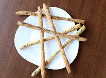 Hoog standpunt van Breadsticks Stock Foto's