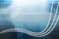 Hoog - technologie blauwe achtergrond met Amerikaans continent Royalty-vrije Stock Foto