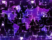 Hoog - technologiekaart van de wereld Royalty-vrije Stock Foto