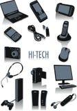 Hoog - technologiesilhouetten Stock Afbeeldingen