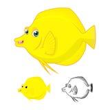 Hoog - Vlakke Ontwerp en Lijn Art Version van kwaliteits het Gele Tang Fish Cartoon Character Include Stock Foto's