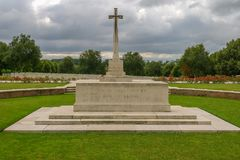 Hooge Crater WW1 Cemetery near Ypres. In Belgium Royalty Free Stock Photos