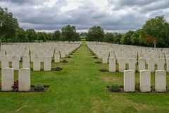 Hooge Crater WW1 Cemetery near Ypres. In Belgium Stock Photography