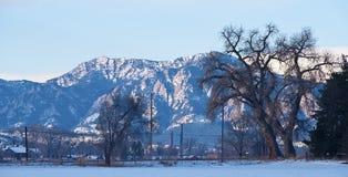 Hooggebergte op een SneeuwOchtend stock foto's