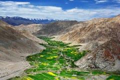 Hooggebergte van de vallei van Himalayagebergte: hoge hellingen van bruine rotsen, diep in het blauwe kloof groene lint van veget Stock Foto