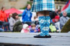 Hooglanddanser bij hooglandspelen in Schotland stock fotografie