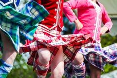 Hooglanddanser bij hooglandspelen in Schotland stock afbeeldingen
