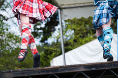 Hooglanddanser bij hooglandspelen in Schotland royalty-vrije stock fotografie
