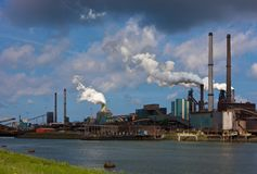 Hoogovens steel factory. In IJmuiden-Velsen, Netherlands Royalty Free Stock Photography