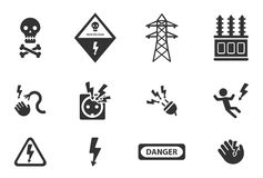 Hoogspannings eenvoudig pictogrammen Stock Fotografie