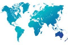 Hoogst gedetailleerde blauwe wereldkaart Stock Afbeelding