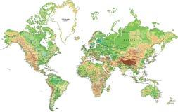 Hoogst gedetailleerde fysieke kaart van de Wereld Stock Afbeeldingen