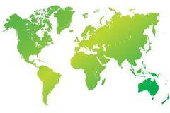 Hoogst gedetailleerde groene wereldkaart Stock Afbeeldingen