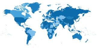 Hoogst gedetailleerde politieke Wereldkaart stock illustratie