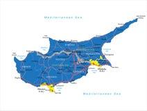 De kaart van Cyprus Stock Afbeeldingen