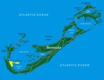 De kaart van de Bermudas Stock Afbeeldingen