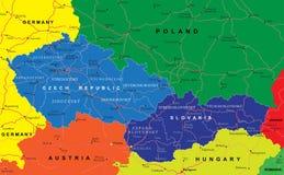 De kaart van Tsjechische en Slowaakse Republieken Stock Afbeeldingen