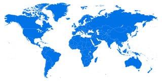 Hoogst gedetailleerde wereldkaart vectorillustratie, malplaatje royalty-vrije illustratie