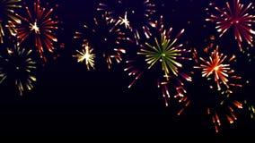Hoogst kleurrijke het gloeien vuurwerkvideo, vector illustratie