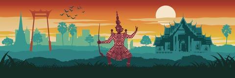 Hoogste beroemd en het symbool van Thailand, koning van reus in pantomime, brengt in de war royalty-vrije illustratie