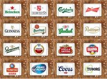 Hoogste beroemde biermerken en emblemen Stock Afbeelding