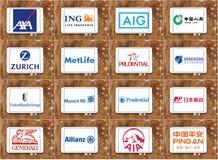 Hoogste beroemde verzekeringsmaatschappijenemblemen en merken Stock Foto's