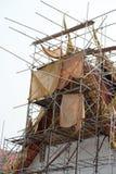 Hoogste dak van tempel onder vernieuwing Stock Afbeelding
