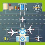 Hoogste de Menings Vlak Beeld van luchthavenbanen vector illustratie