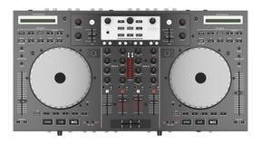 Hoogste die mening van de mixercontrolemechanisme van DJ op wit wordt geïsoleerd Royalty-vrije Stock Afbeelding