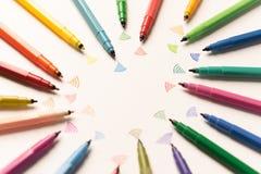 Hoogste die mening van slagen met kleurrijke tellers worden geschilderd royalty-vrije stock foto's