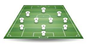 Hoogste en achtermening van voetbalgebied met de t-shirt van teamspelers Geweven voetbalgebied in perspectief vector illustratie