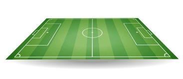 Hoogste en zijaanzicht van voetbalgebied Geweven voetbalgebied in perspectief Groene speelplaatsbackgro stock illustratie
