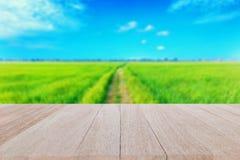 Hoogste houten lijst met blauwgroene padieveldachtergrond Stock Foto's