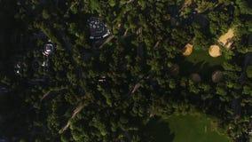 Hoogste luchthommelmening over Central Park groene bomen in midden van district het van de binnenstad Manhattan van New York stock footage