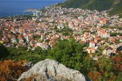 Hoogste mening Budva Montenegro Royalty-vrije Stock Afbeelding