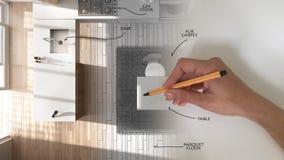 Hoogste mening, concept van de architecten het binnenlandse ontwerper: overhandig het trekken van een ontwerp binnenlandse projec royalty-vrije stock afbeelding