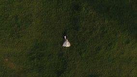 Hoogste mening die van huwelijkspaar bij groen gras en het rusten liggen stock footage