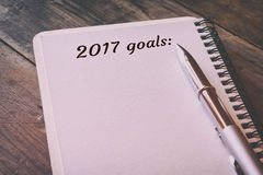 Hoogste mening 2017 doelstellingen lijst met notitieboekje Stock Foto