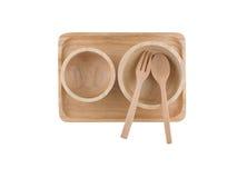Hoogste mening, Houten lepel en houten die kop op het houten dienblad wordt geplaatst Stock Afbeelding