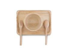 Hoogste mening, Houten lepel en houten die kop op het houten dienblad wordt geplaatst Royalty-vrije Stock Foto's