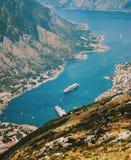 Hoogste mening over de Kotor-baai, Montenegro royalty-vrije stock foto