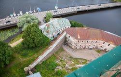 Hoogste mening over de Oude Stad van het observatiedek van het Vyborg-kasteel Stock Afbeelding