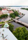 Hoogste mening over de Oude Stad van het observatiedek van het Vyborg-kasteel Stock Foto's