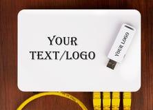 Hoogste mening over de router van het wifihuis met 4 UTP rj-45 flardkoorden en USB-wifiapparaat Stock Afbeeldingen
