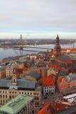 Hoogste mening over stad Riga, Letland stock foto's