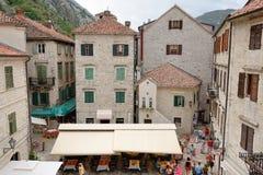 Hoogste mening over vierkant van Boka-Vloot in Kotor, Montenegro royalty-vrije stock afbeeldingen