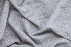 Hoogste mening over zachte wollen grijze textiltextuur stock foto