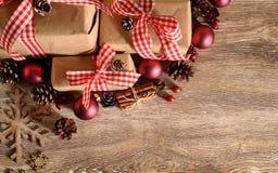 Hoogste mening rustieke Kerstmis als achtergrond Royalty-vrije Stock Foto